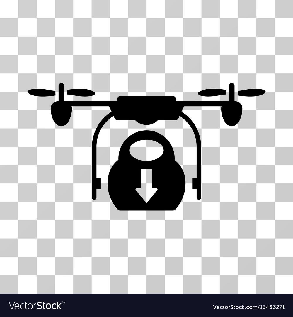 Drone drop cargo icon vector image