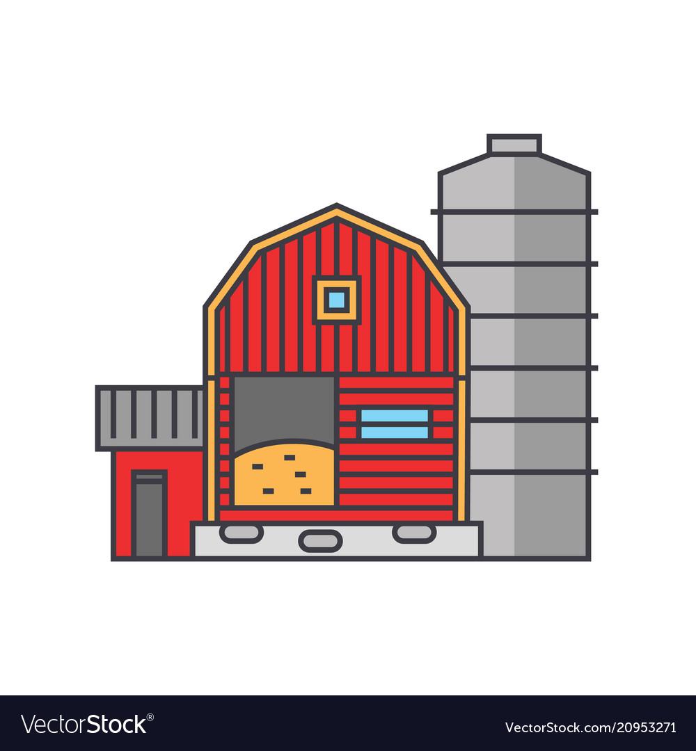 Farm line icon concept farm flat sign