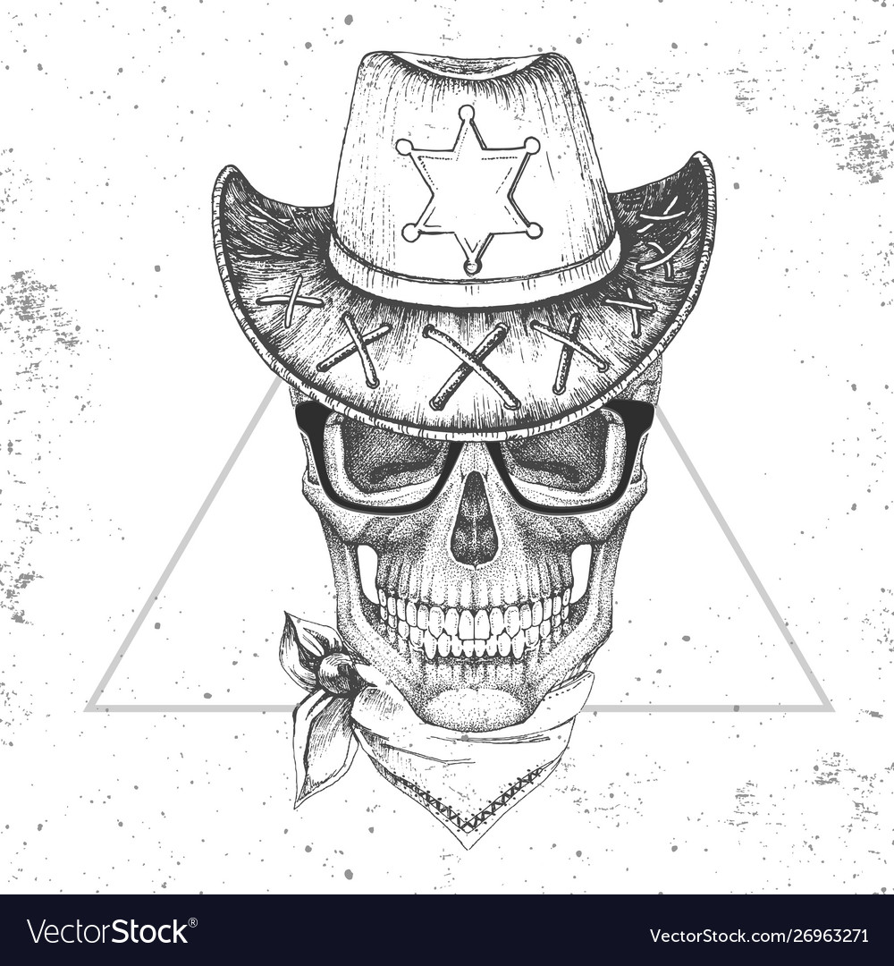 Hand drawing hipster skull with sheriffs hat
