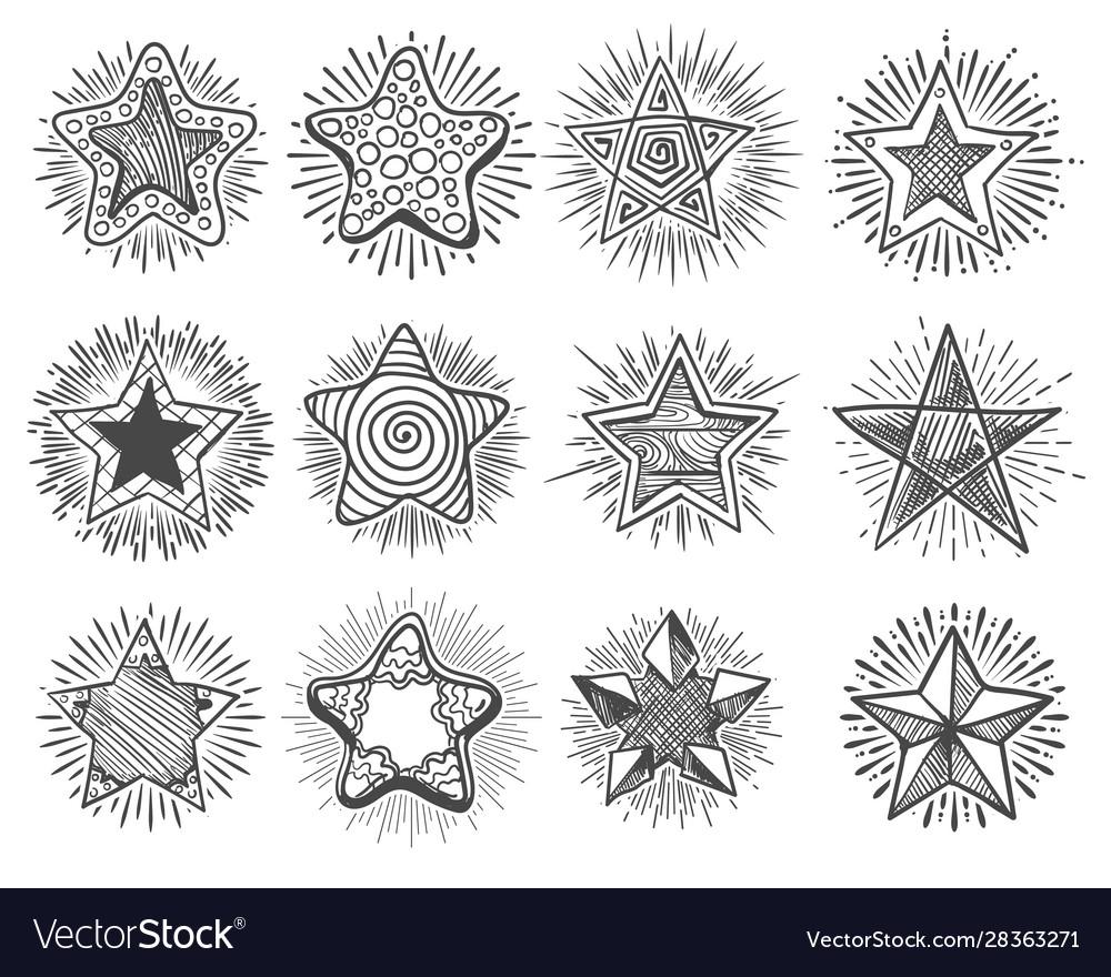 Hand drawn vintage doodle stars set