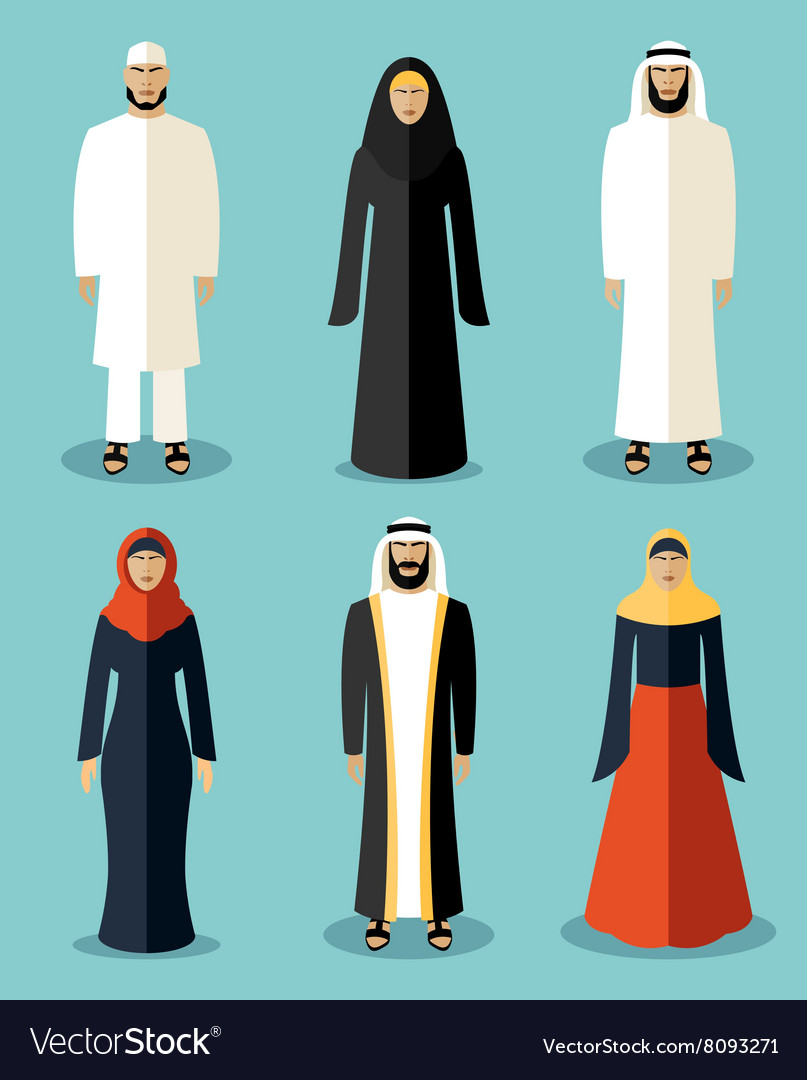 Muslim people flat icons