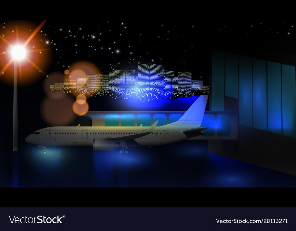 Night view airport passenger terminal
