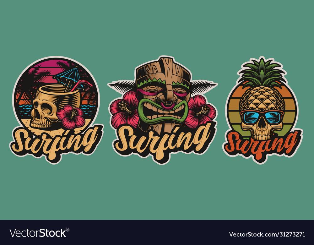 Set colourful hawaii surfing with skulls tiki