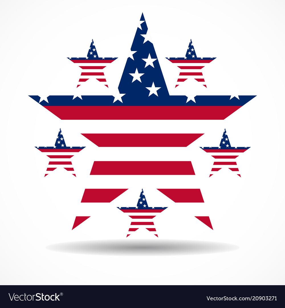 Usa flag in stars shape