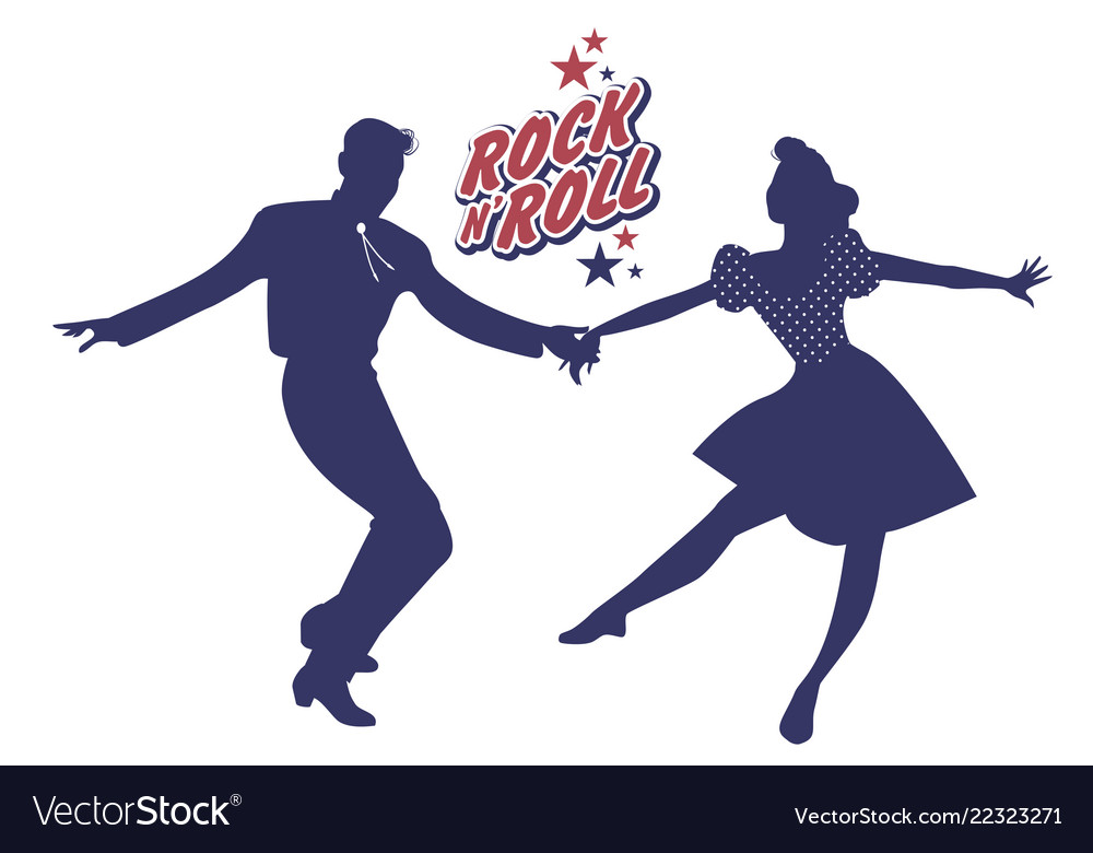 Young couple wearing 50s clothes dancing rock and