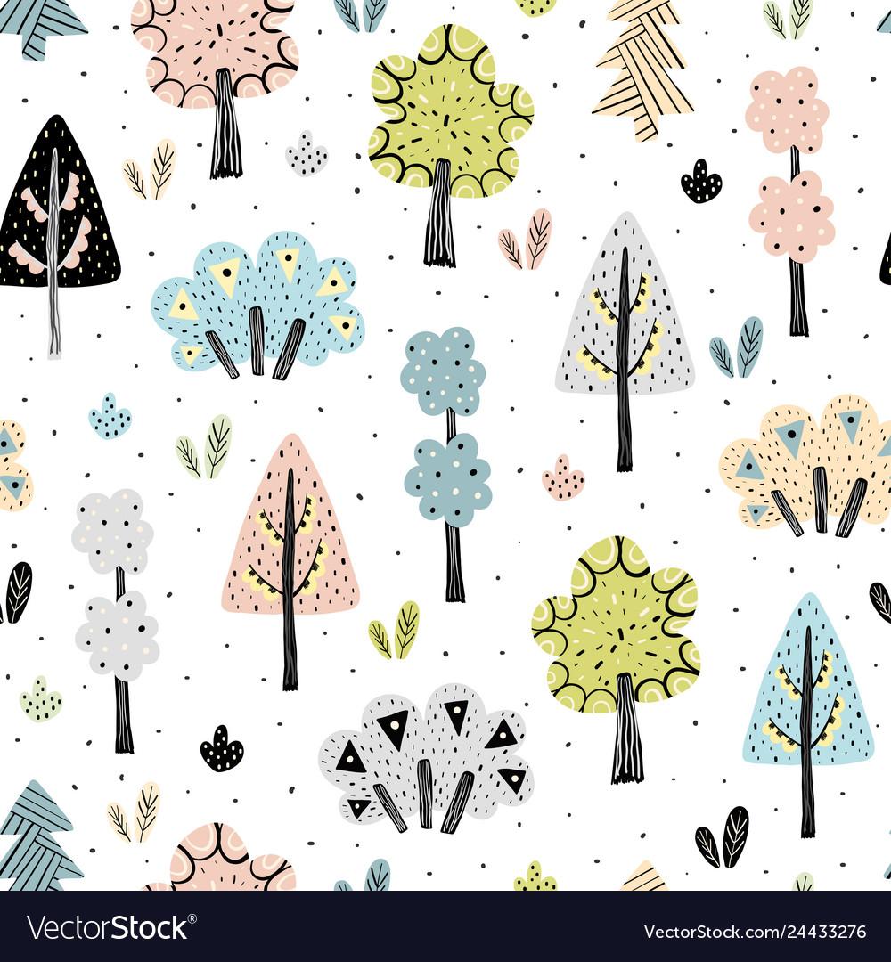 Amazing forest seamless pattern