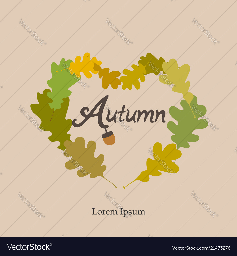 Autumn heart frame card autumn wreath of oak