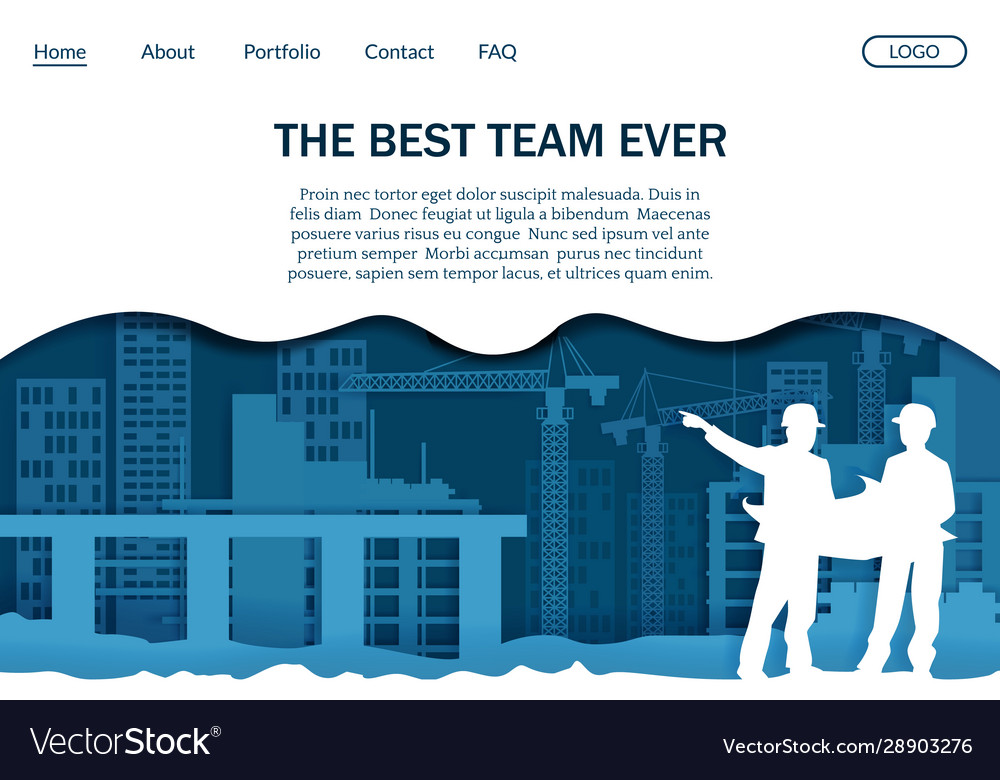Construction Company Website Landing Page Vector Image