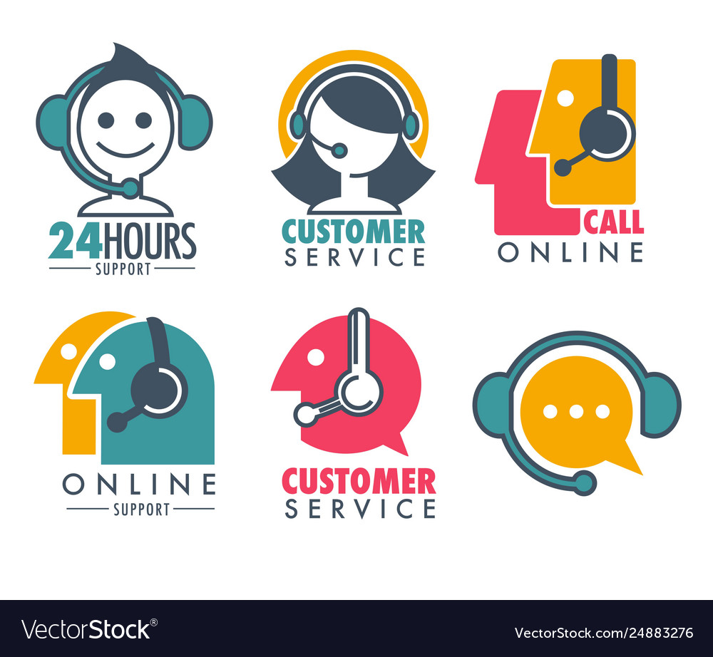 Customer service promotional emblem with woman