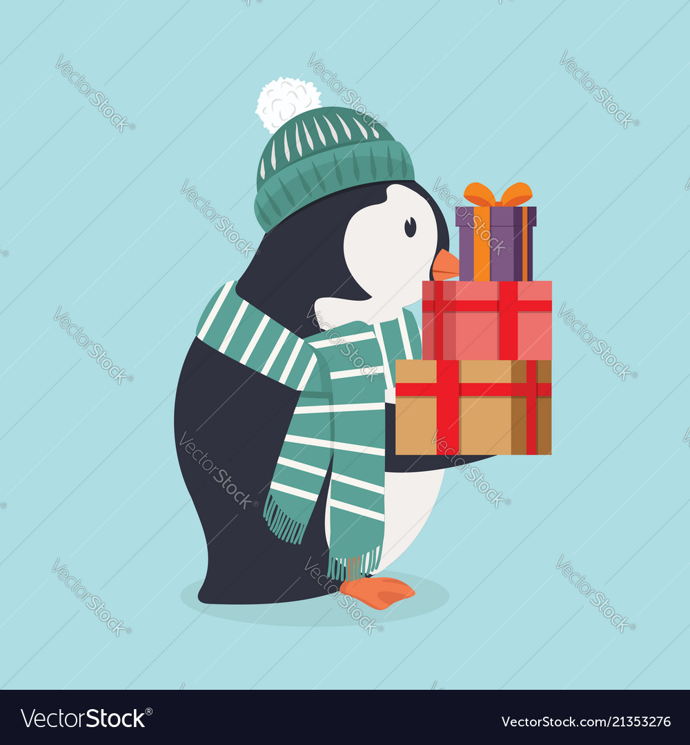 Cute penguin wearing green hat and scarf with gift