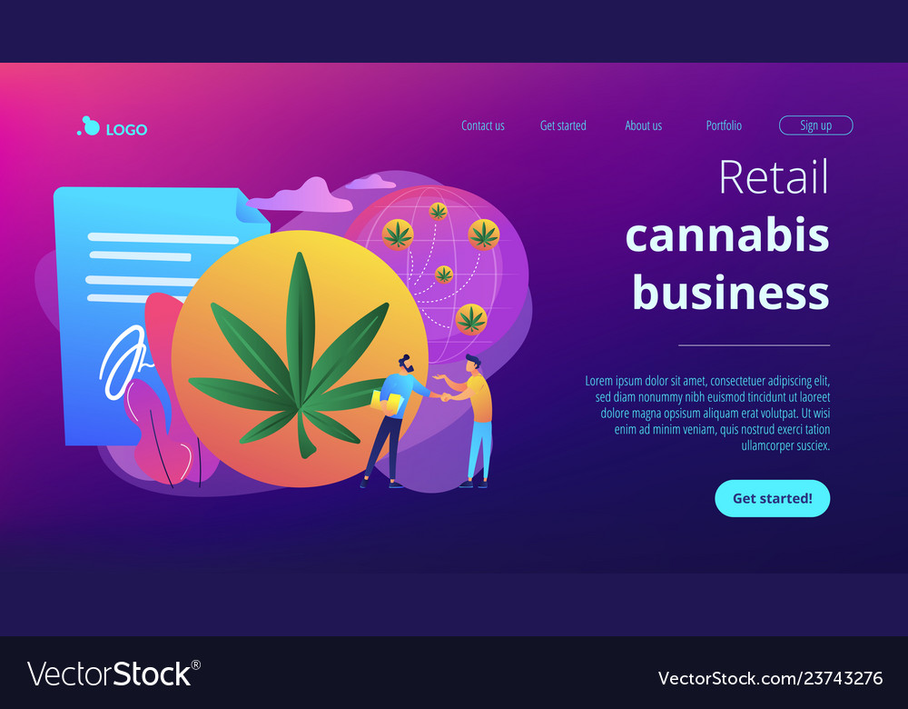 Distribution of hemp products concept landing page