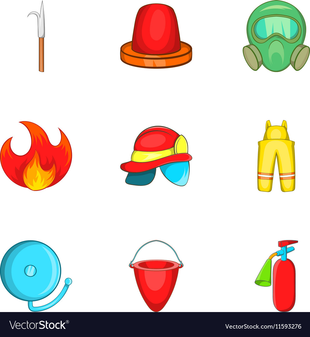 Firefighter icons set cartoon style Royalty Free Vector 042857af43ed