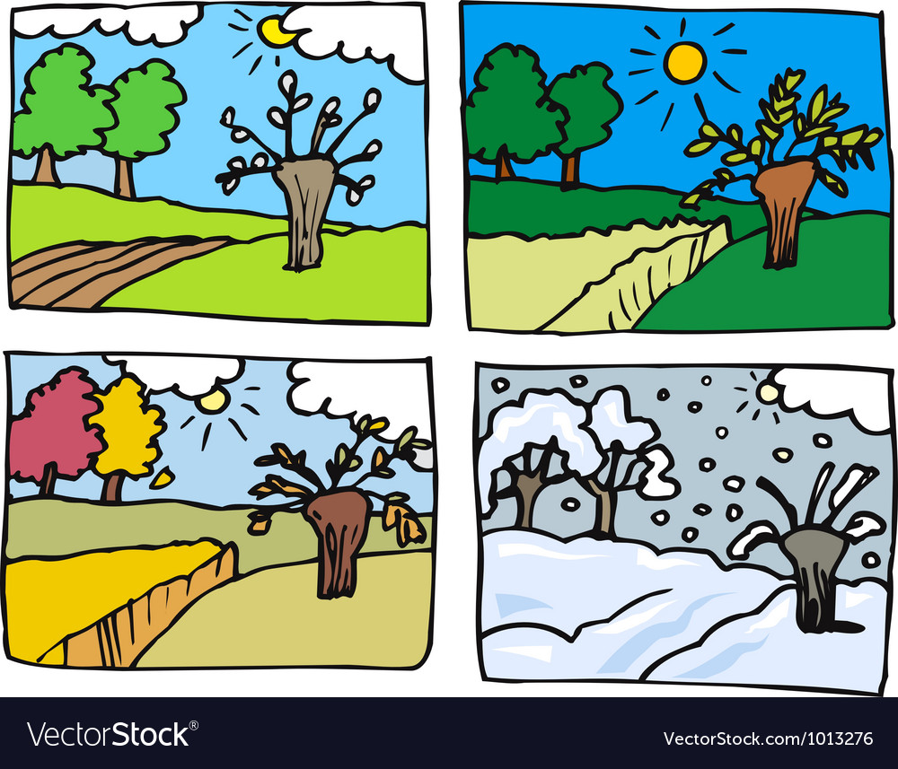 Four seasons cartoon
