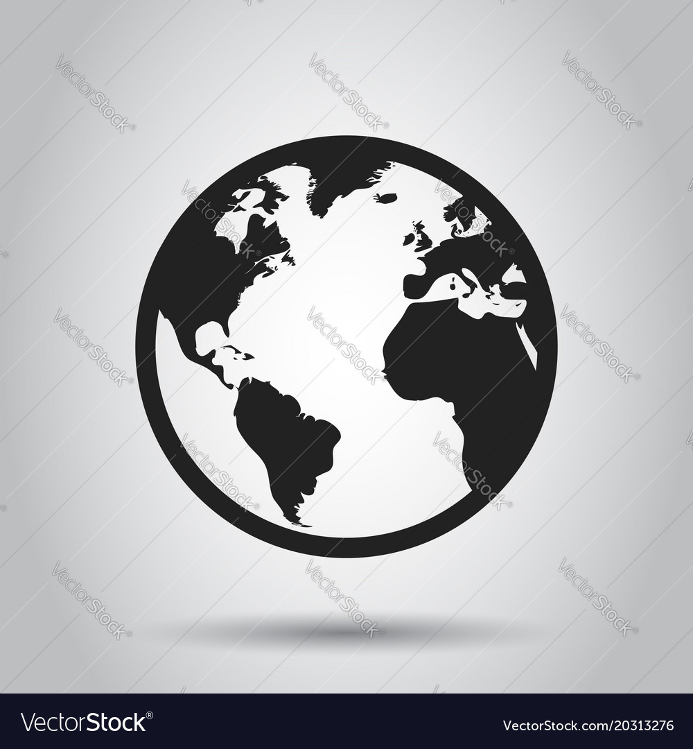Globe world map icon round earth flat planet vector image gumiabroncs Gallery