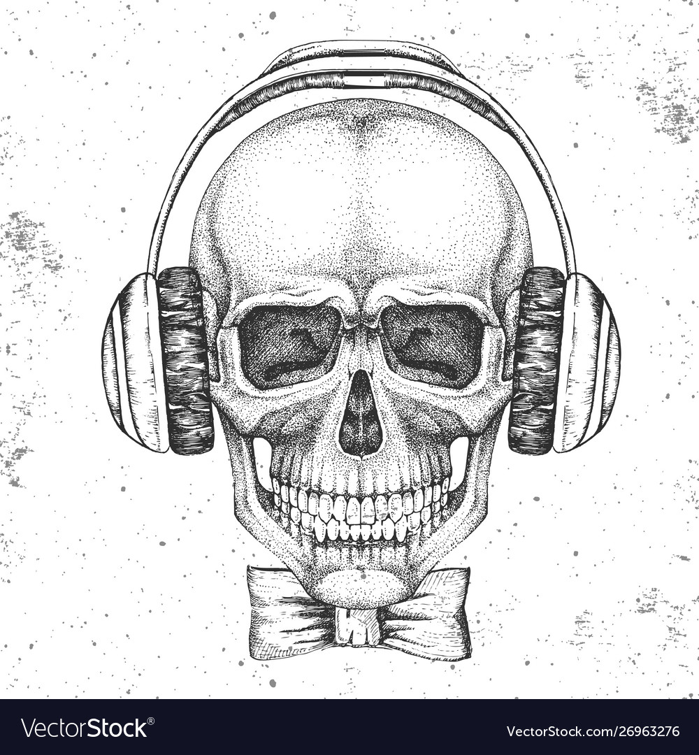 Hand drawing hipster skull with headphones