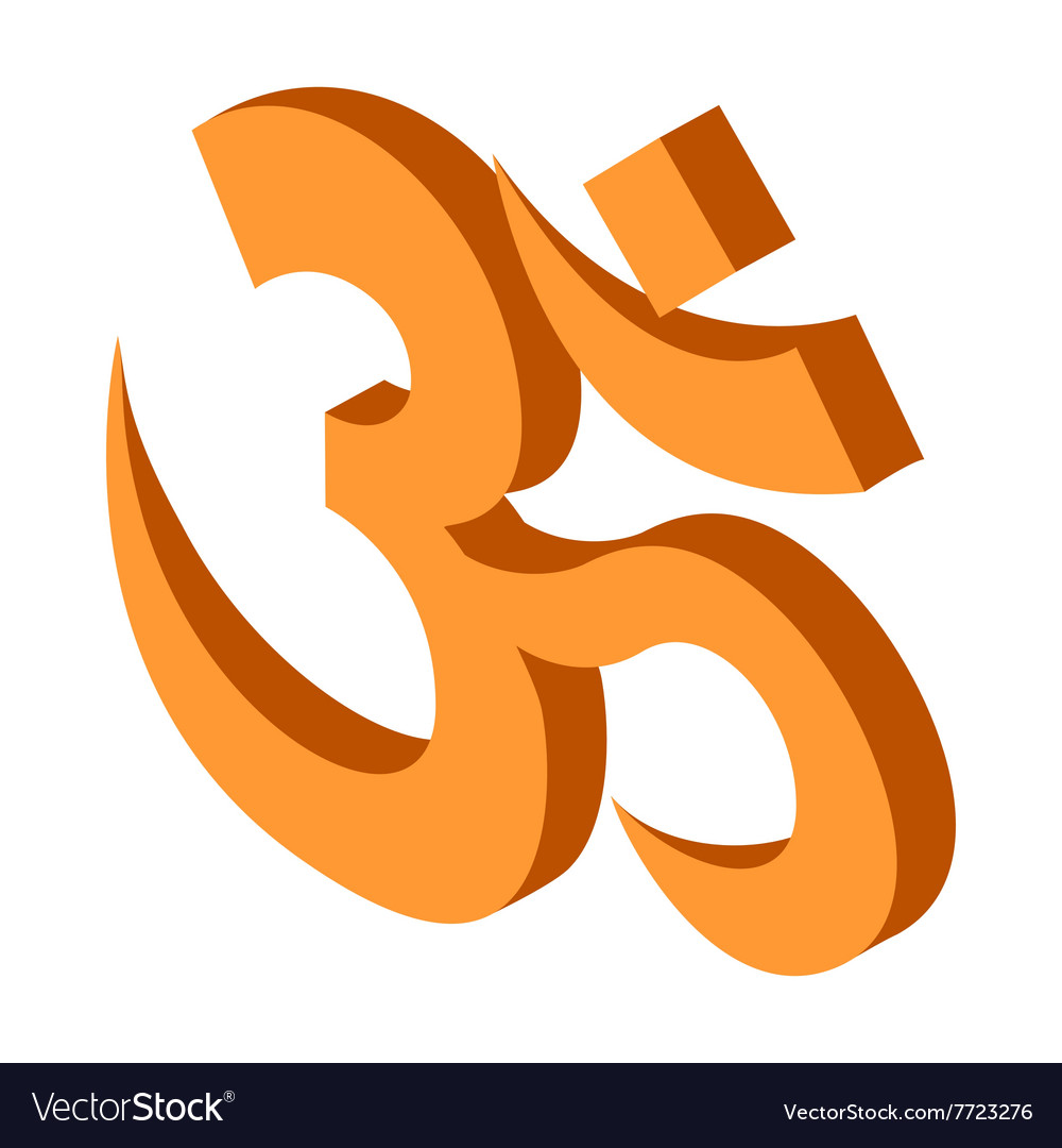 Hindu Om Symbol Icon Isometric 3d Style Royalty Free Vector