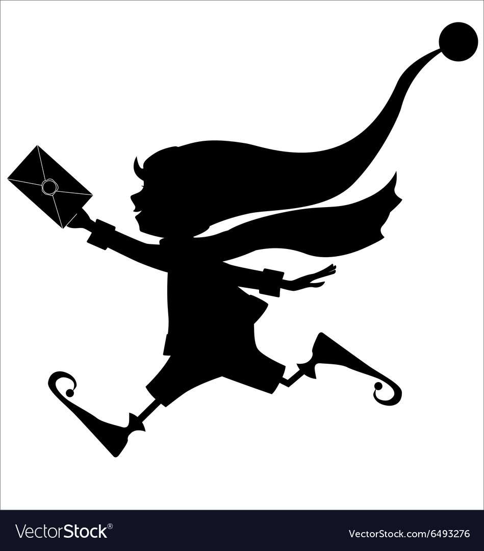 Silhouette of runing Christmas elf with letter Vector Image
