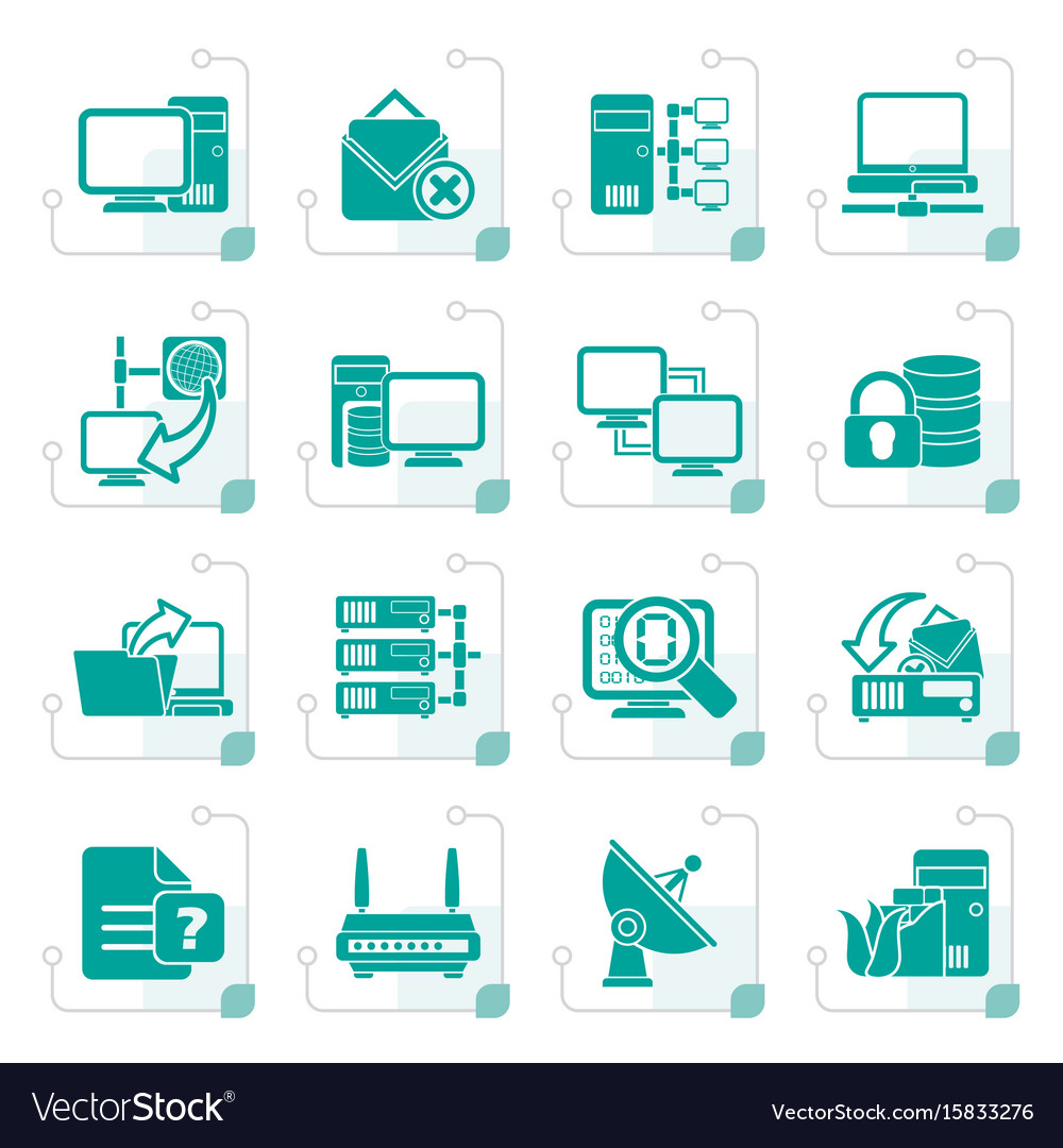 Stylized computer network and internet icons vector image