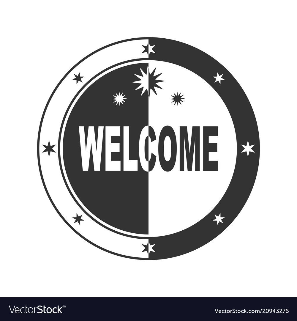 Welcome stamp in black and white