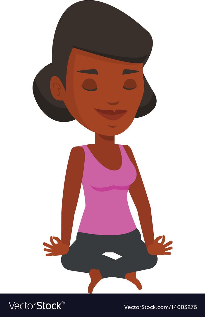 Woman meditating in yoga lotus pose vector image