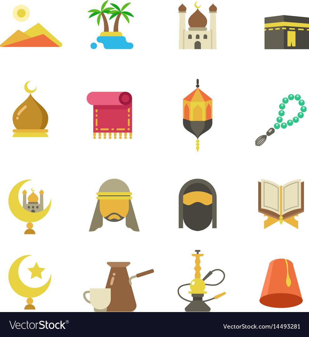 Arabic muslim culture icons arabian