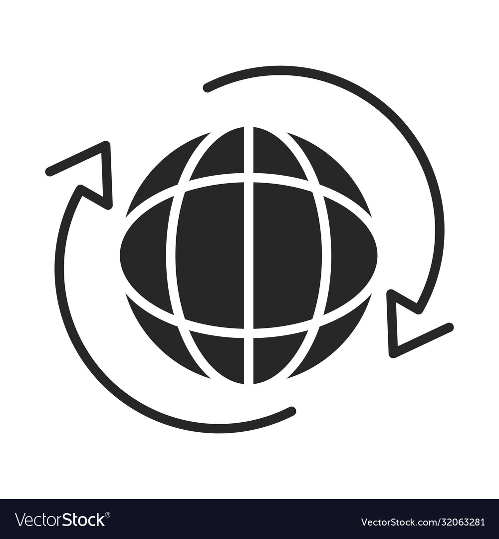 Around world connection silhouette style icon