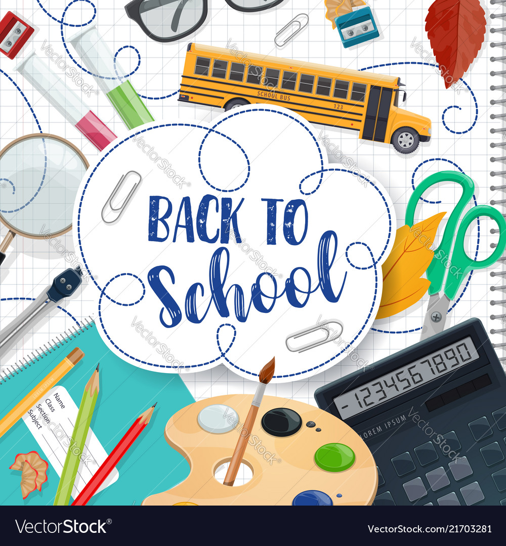 Back To School Lettering And Stationery Poster Vector Image
