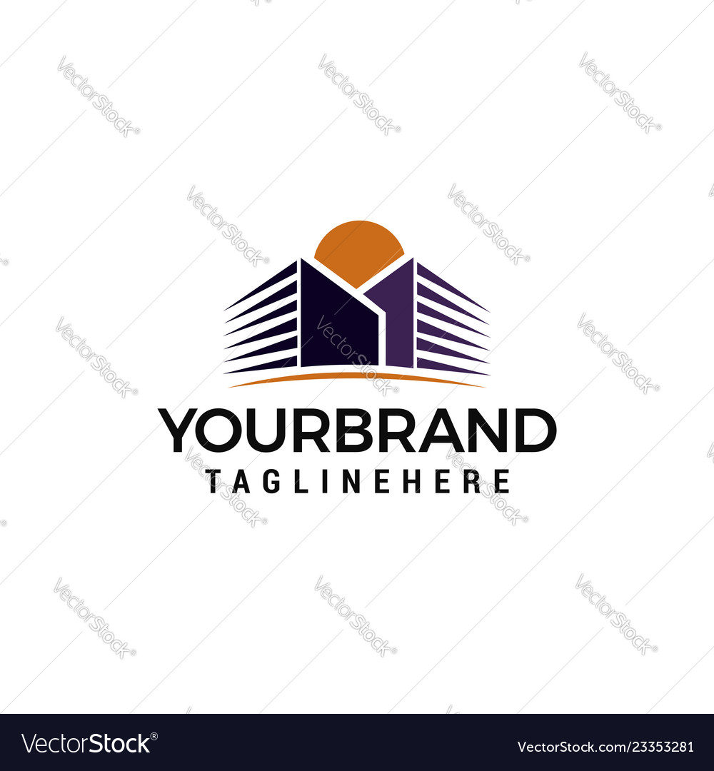 Buildings Sun Logo Template Design Royalty Free Vector Image