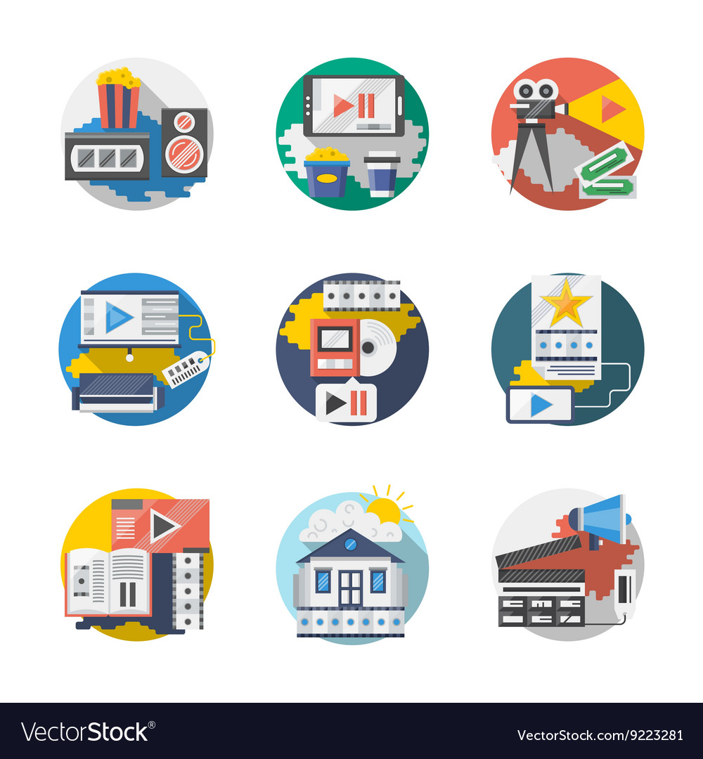 Cinema industry detailed flat icons set