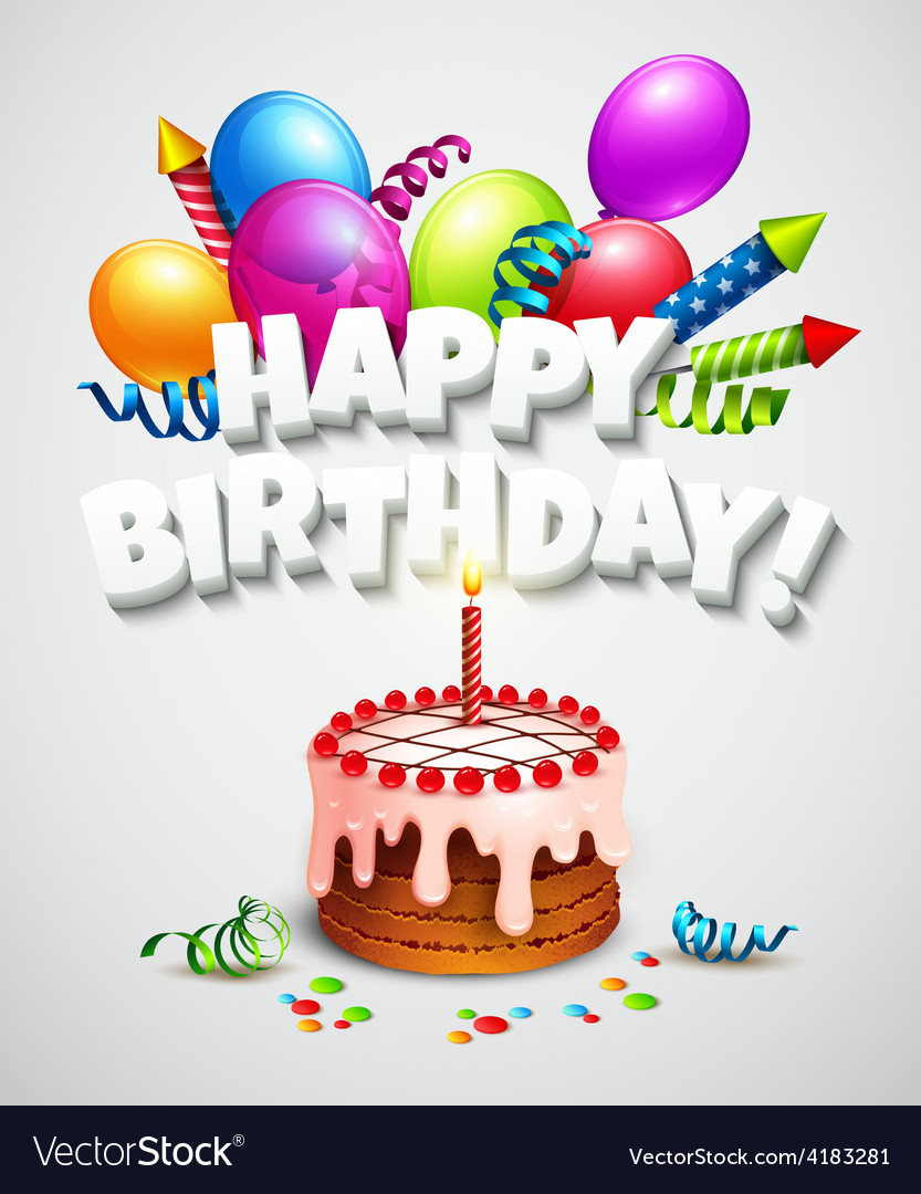 Happy birthday greeting card with cake and vector image m4hsunfo