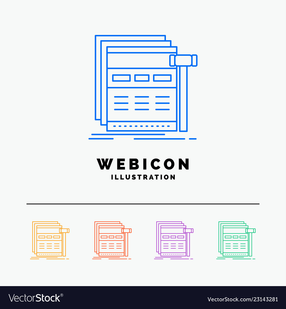 Internet page web webpage wireframe 5 color line