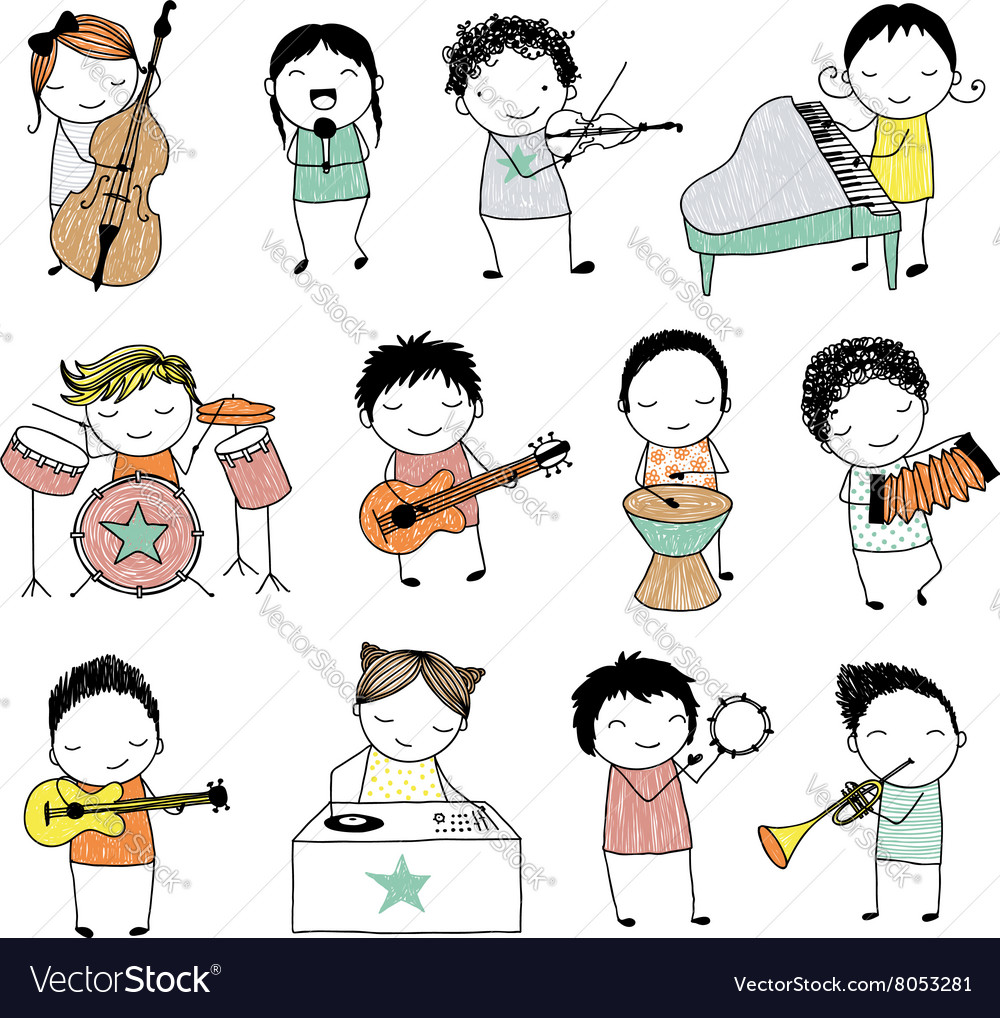 Kids playing musical instruments or singing vector image