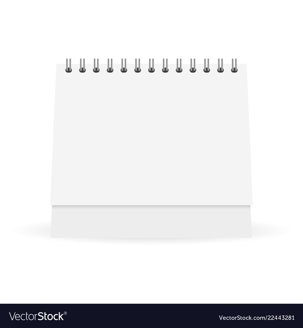 Mock up white paper calendar stands on a table