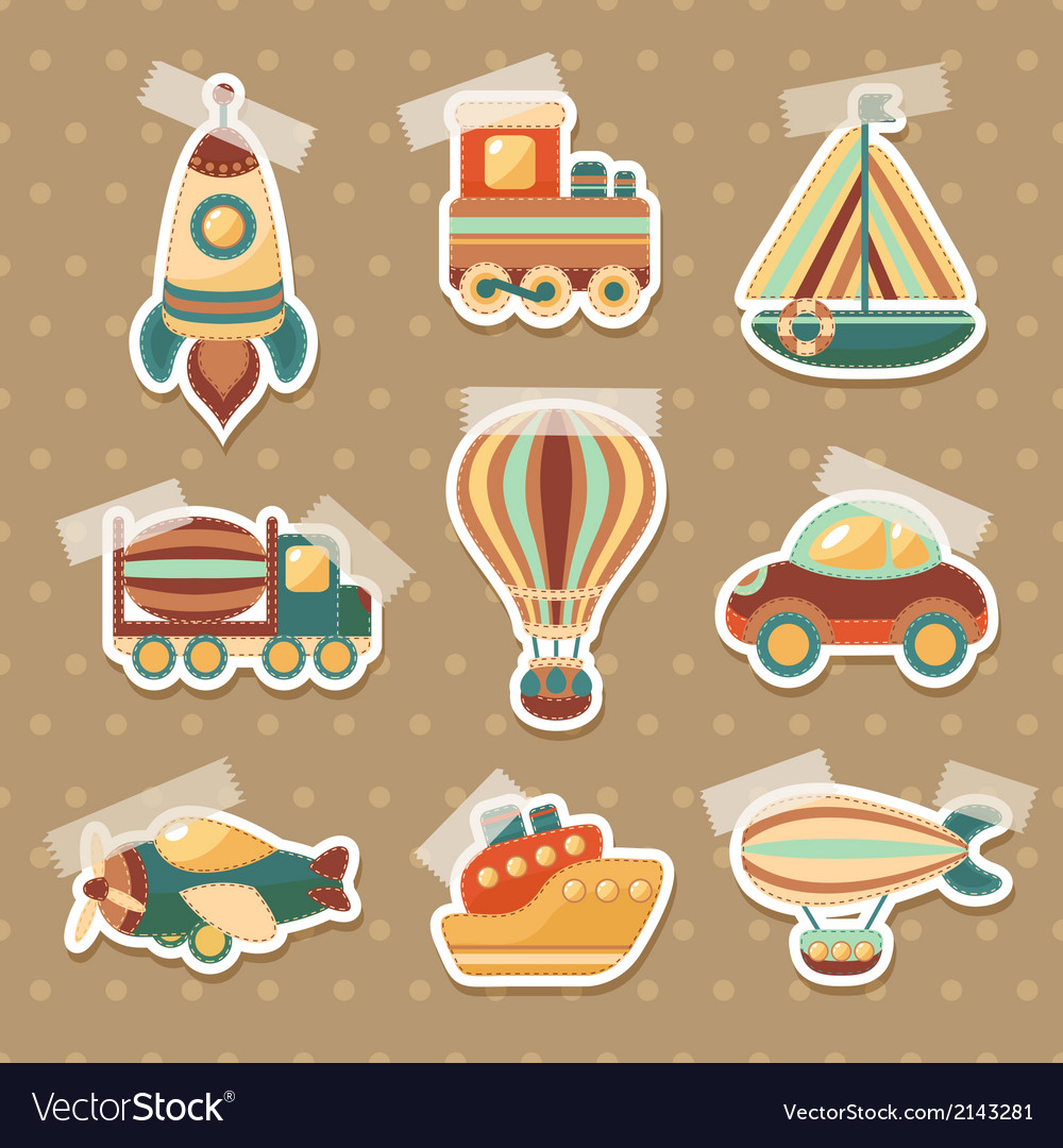 Transport toy stickers set vector image