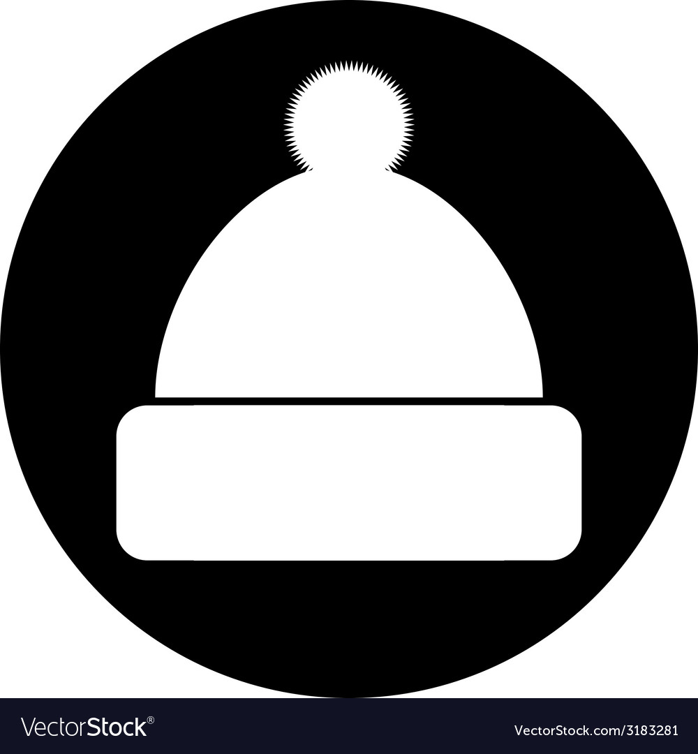 Winter Hat Symbol Button Royalty Free Vector Image