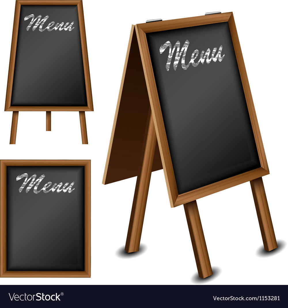 Wood blackboard set for menu vector image