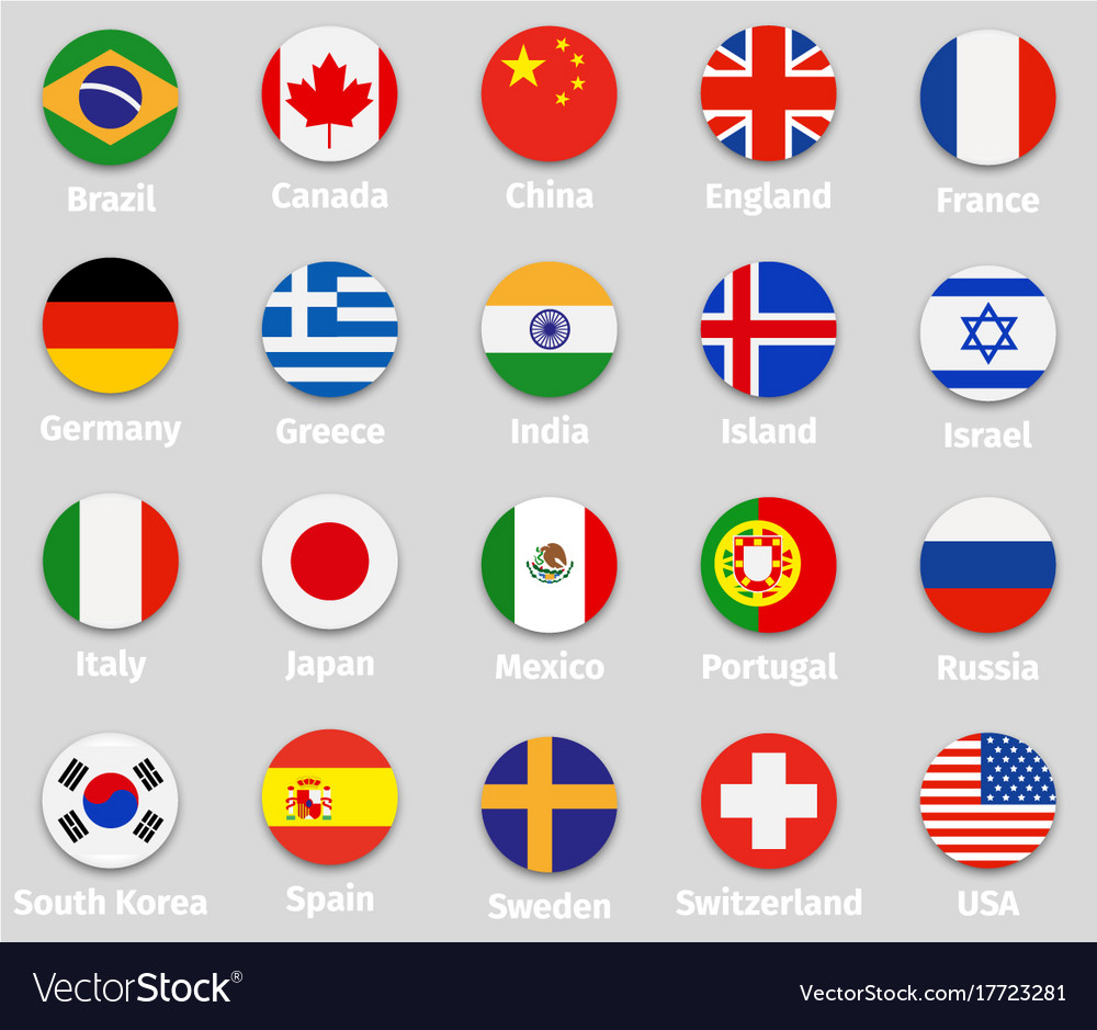 World Flags Round Icons Set Royalty Free Vector Image