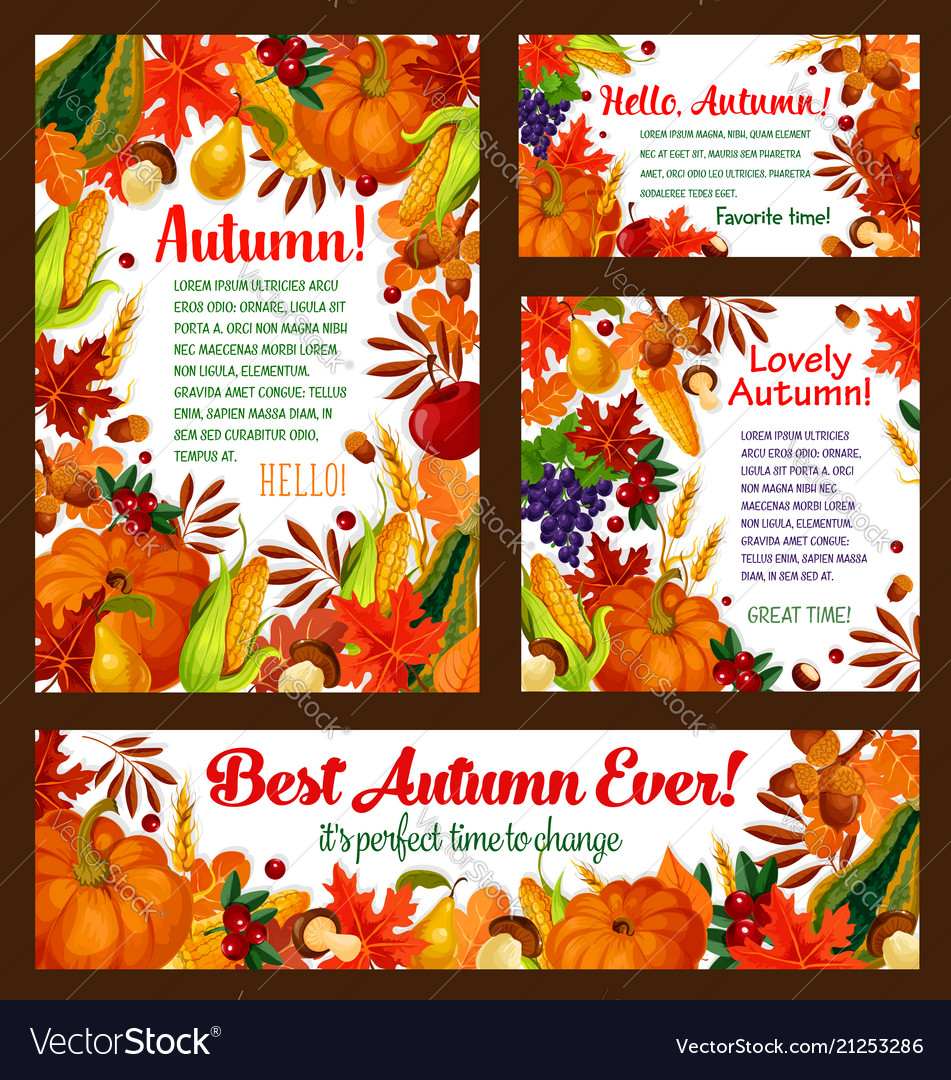 Autumn foliage pumpkin maple leaf poster