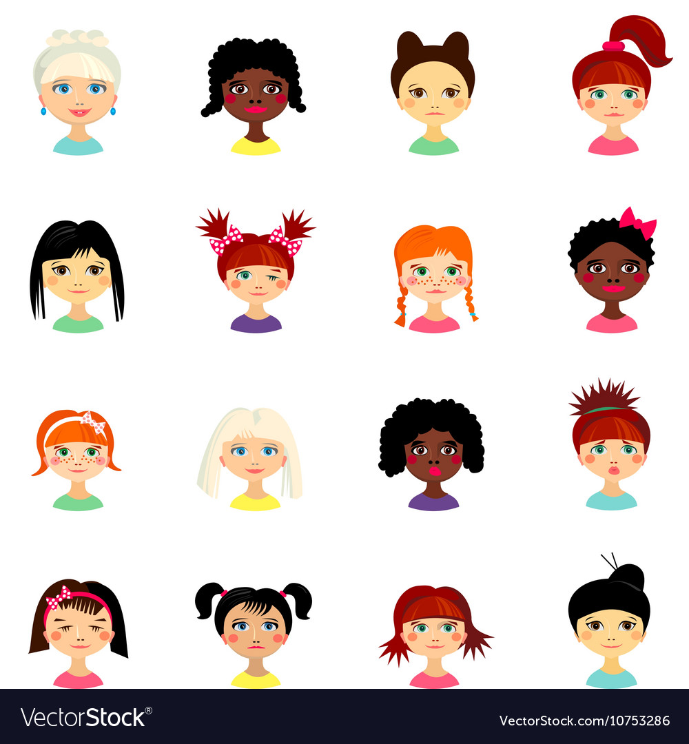 Avatar set with womens of different ethnicity