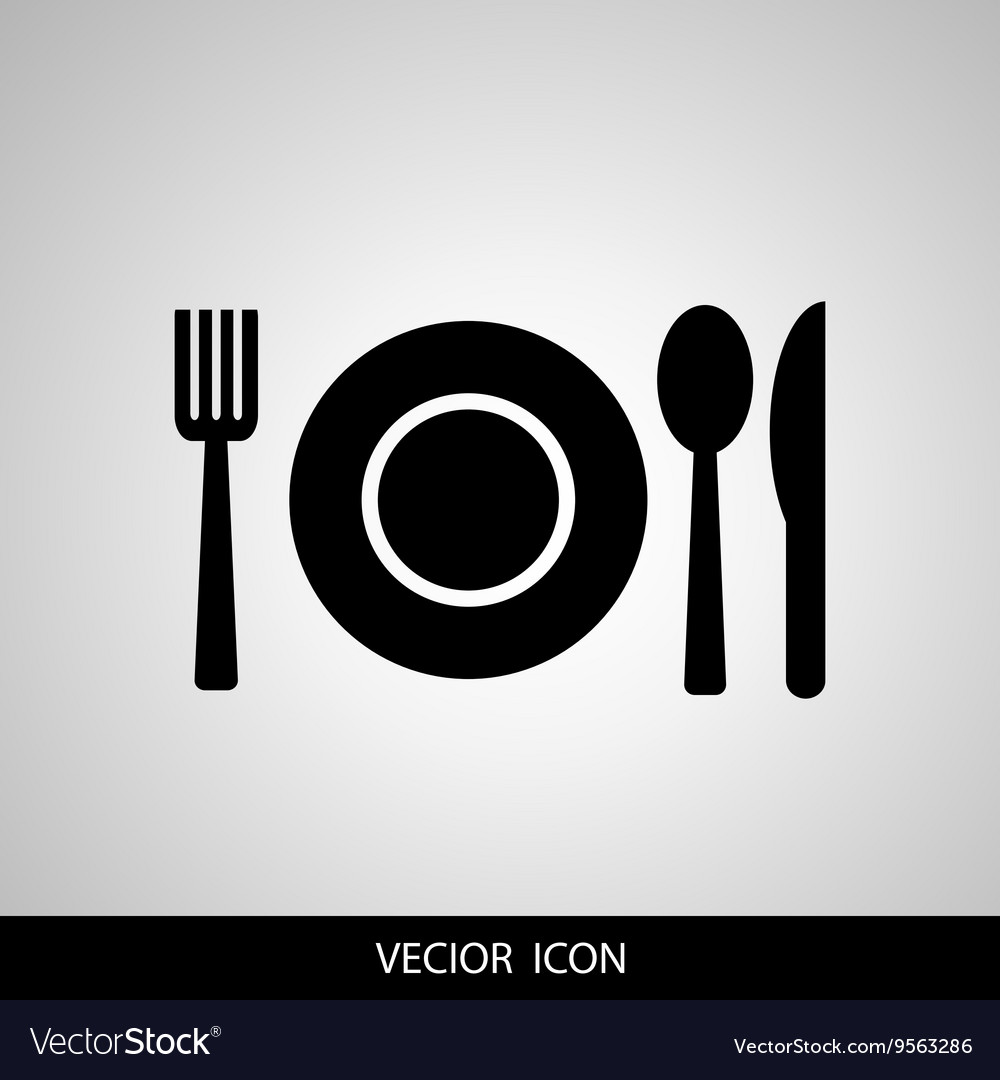Black restaurant menu icon plate with cutlery