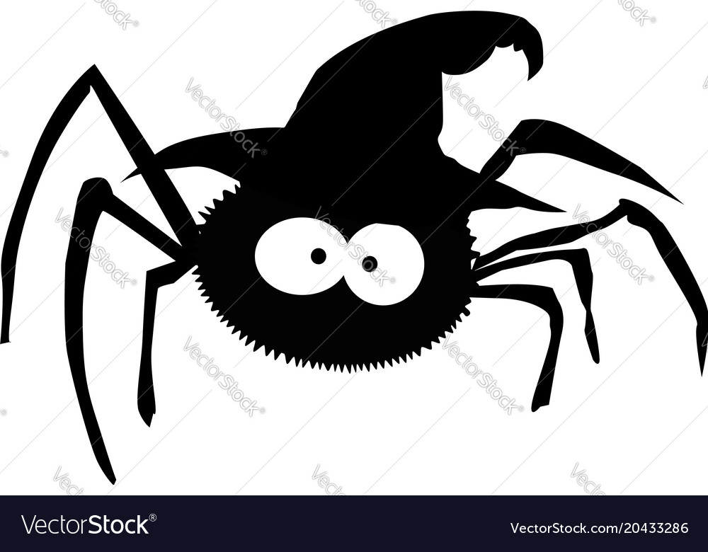 Black silhouette of spider in witch hat isolated