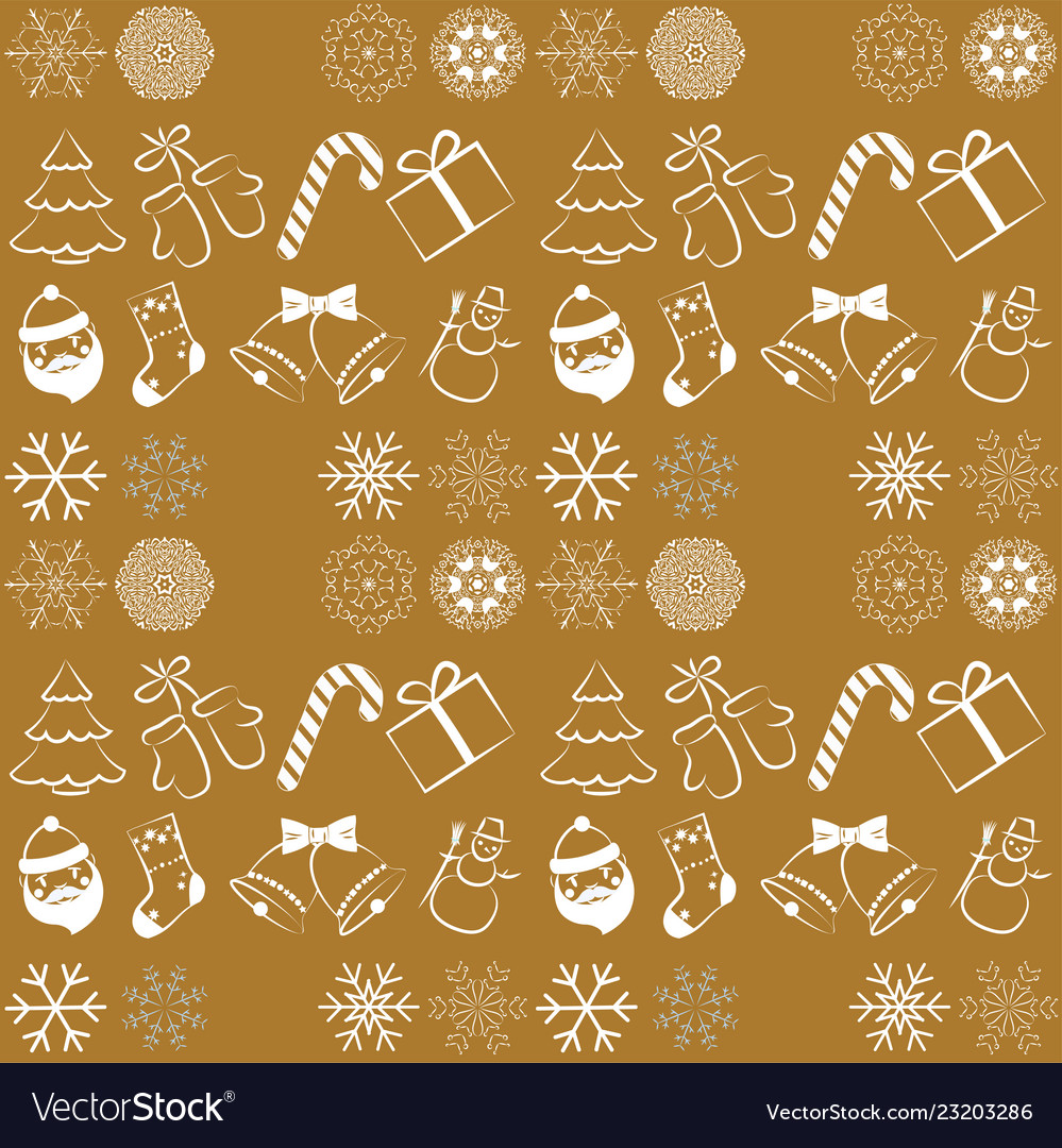 Christmas seamless pattern on yellow background