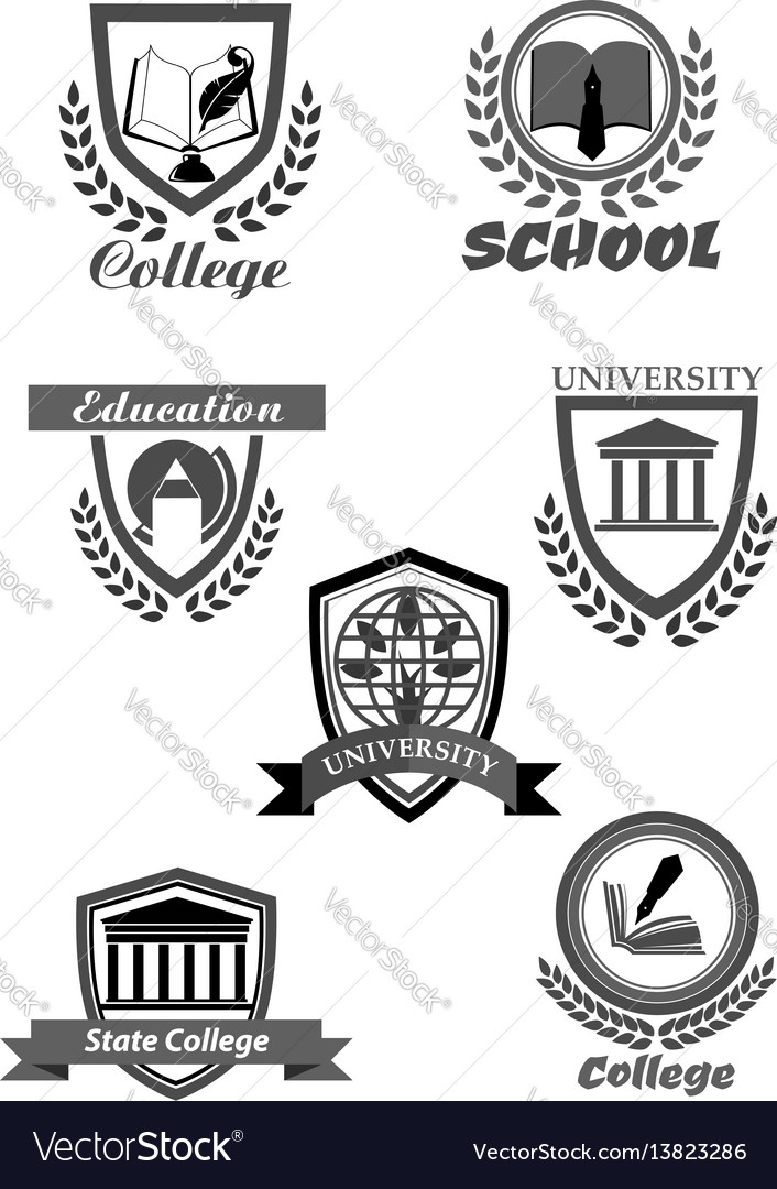 College or university and school icons set