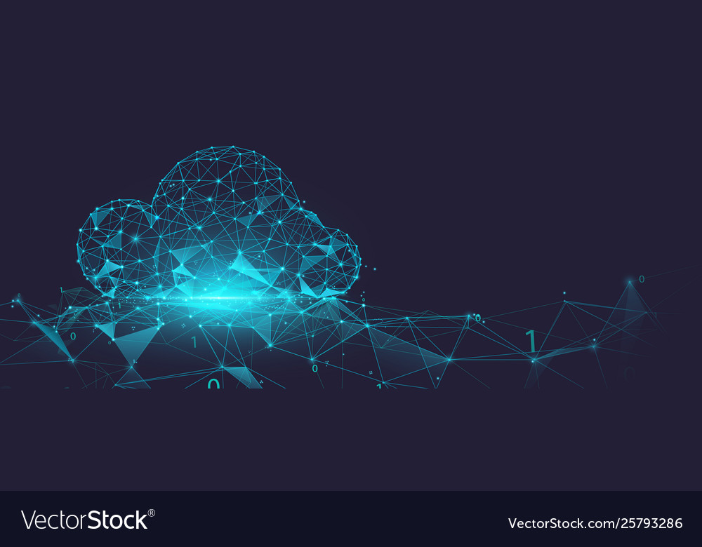 Data cloud storage network from lines and particle