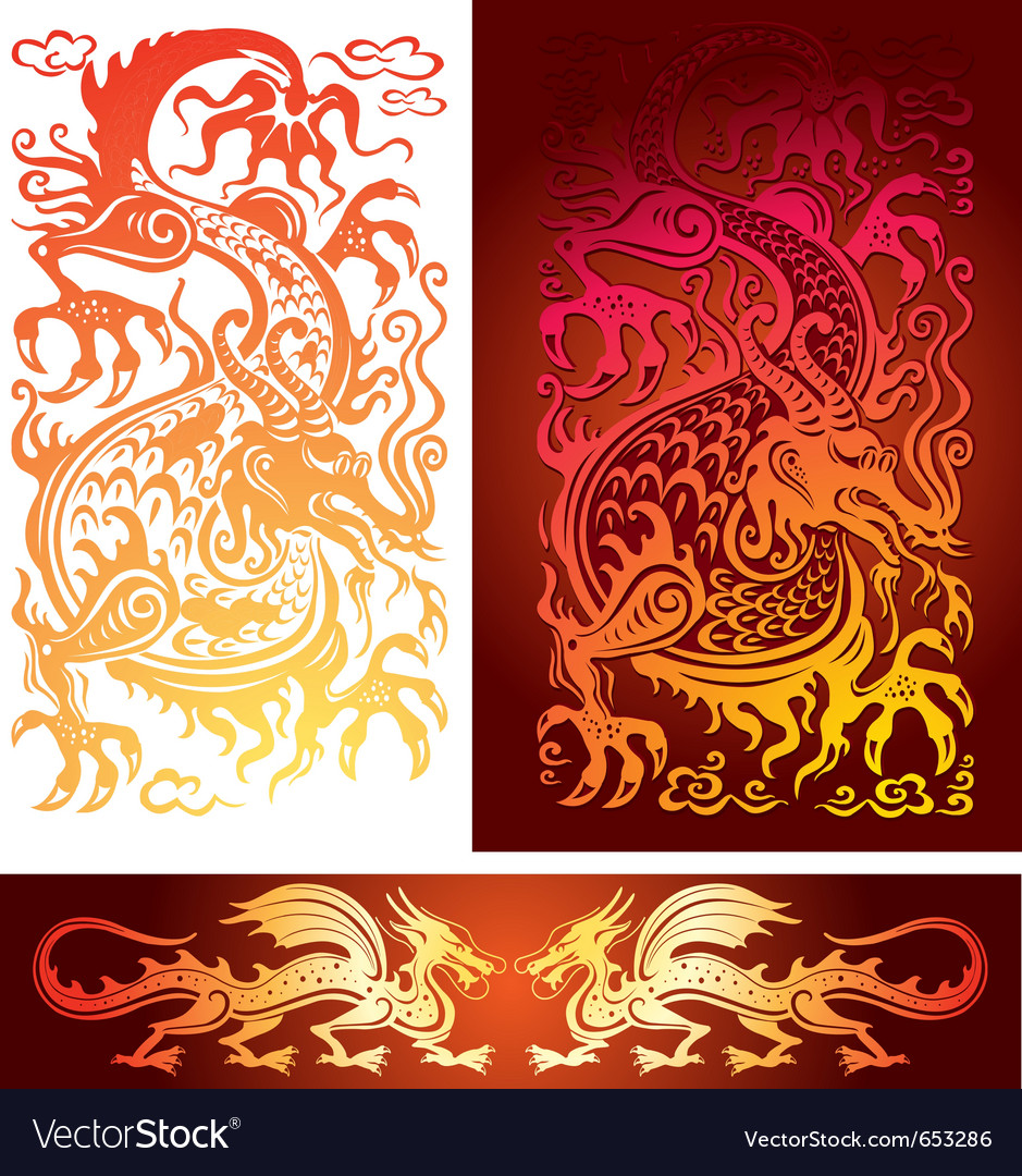 Golden dragon vector image