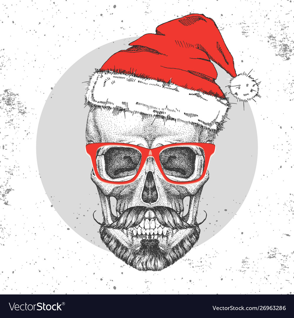Hand drawing hipster skull with new year hat