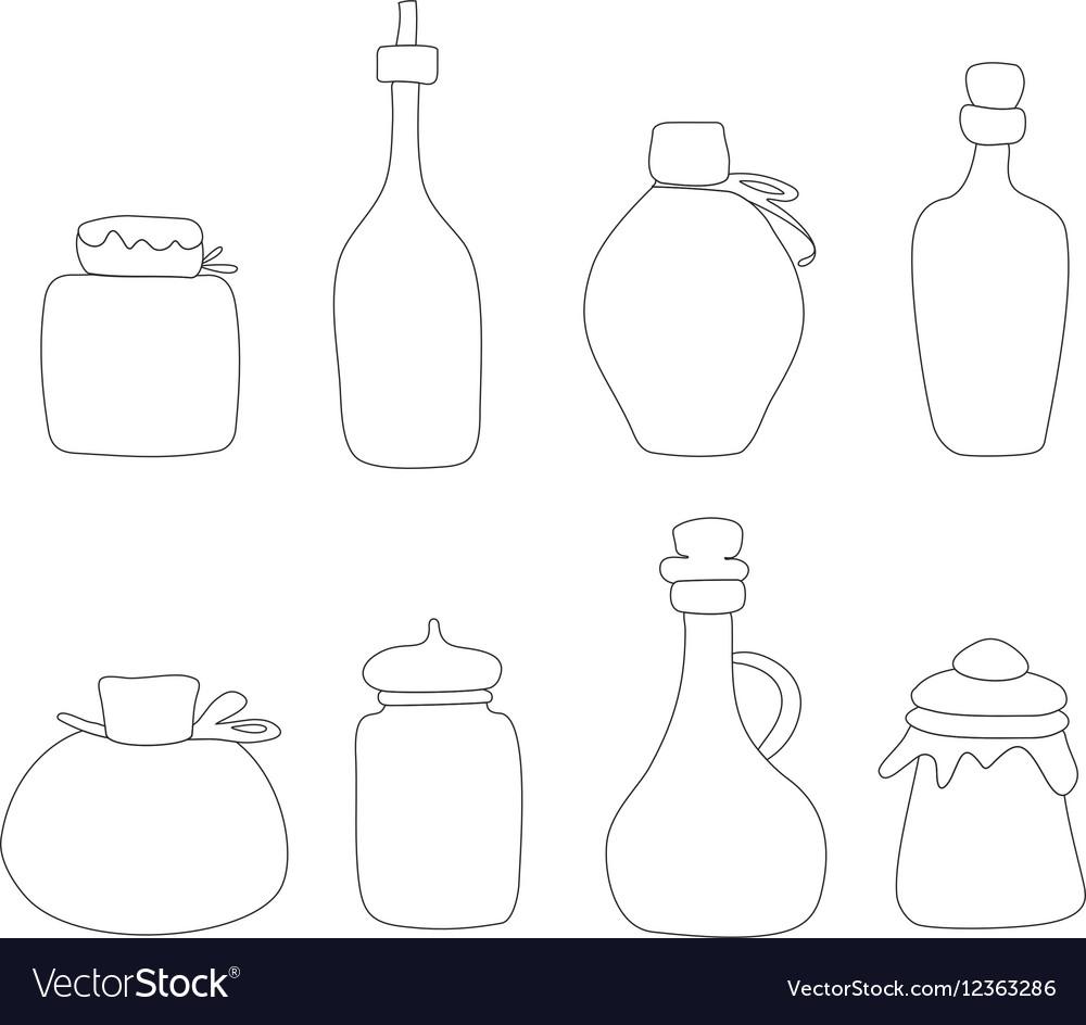 Hand drawn Jar set Sketched jars and
