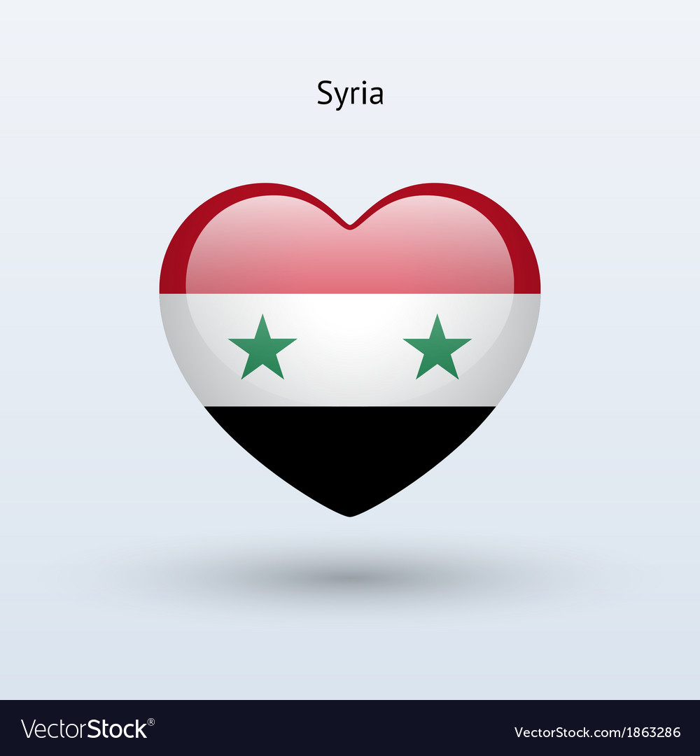Love Syria symbol Heart flag icon vector image