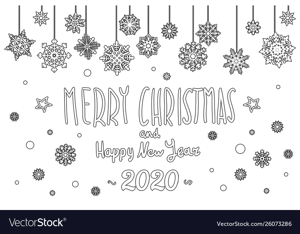 Merry Christmas 2020 Black And White Merry christmas and happy new year 2020 year Vector Image