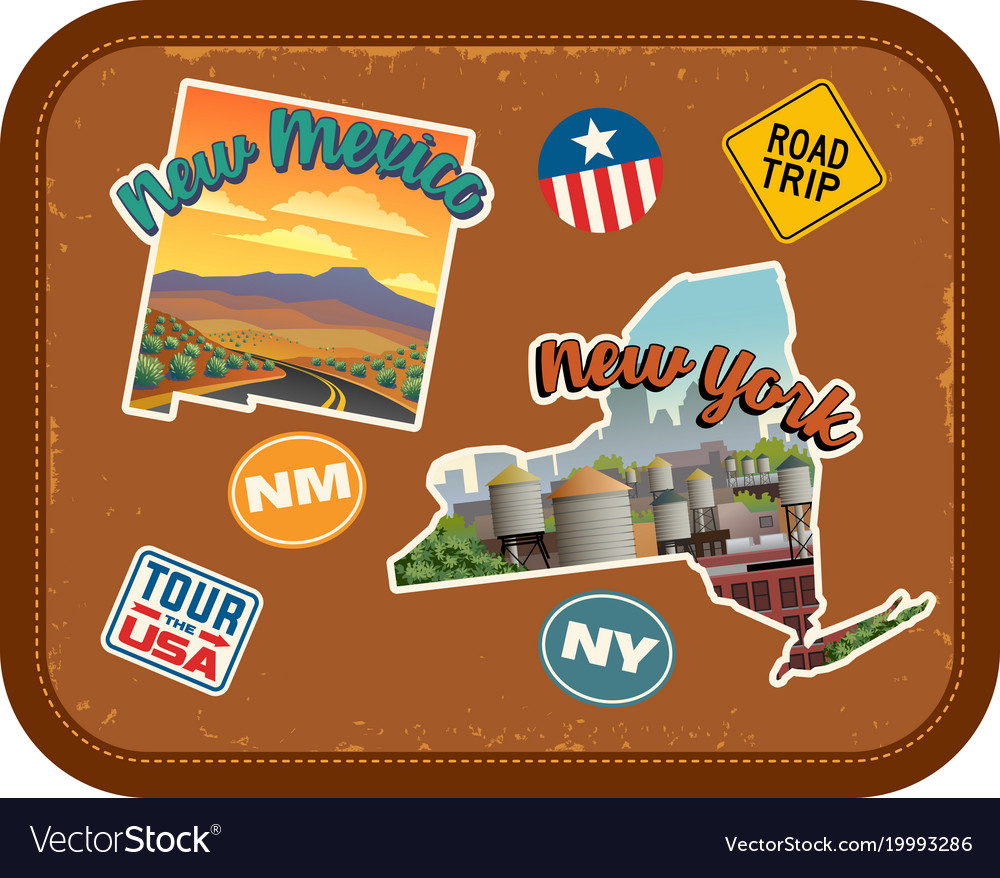 New mexico new york travel stickers